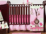 Sweet Jojo Designs 11-Piece Pink and Green Jungle Safari animal themed Baby Girl Bedding Crib Set Without Bumper