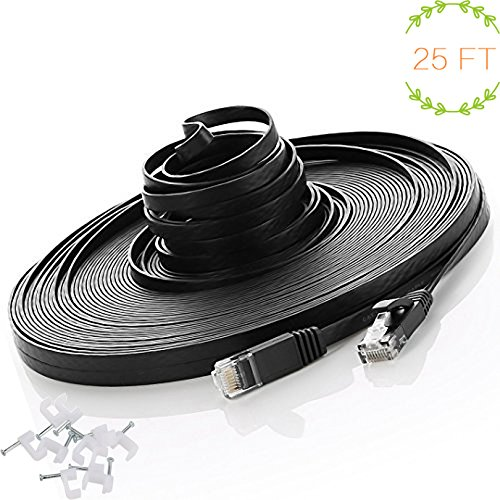 Ethernet Cable, 25Ft Cat6 Slim RJ45 Flat Network Cable with Cable Clips, Higher Speed than Cat5e Cat5 Computer Cable - 8 Meters Black/25 feet