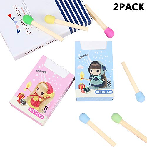 Anime Cute Kawaii Matches Pencil Eraser Lovely Colored Erasers for Games Prizes Classroom Rewards Party Favors Carnivals Gift and School Supplies Kids Students Creative Gifts(2Pack) -