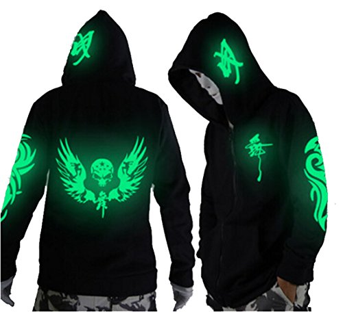 Unisex-Adult/Teens Galaxy Unique Design Hoodie Luminescent Hoody Jacket Glow Lights at Night (M (Asian Size), Green Wings&Skull)