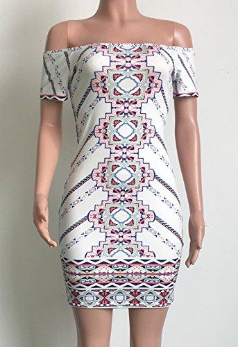 Les Femmes Élégantes Mancherons De L'épaule D'impression Hors Modèle Mini Robe Moulante Clubwear Partie Blanche