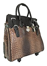 Trendy Flyer Computer/laptop Large Bag Tote Duffel Rolling 4 Wheel Spinner Luggage Dark Brown Croc