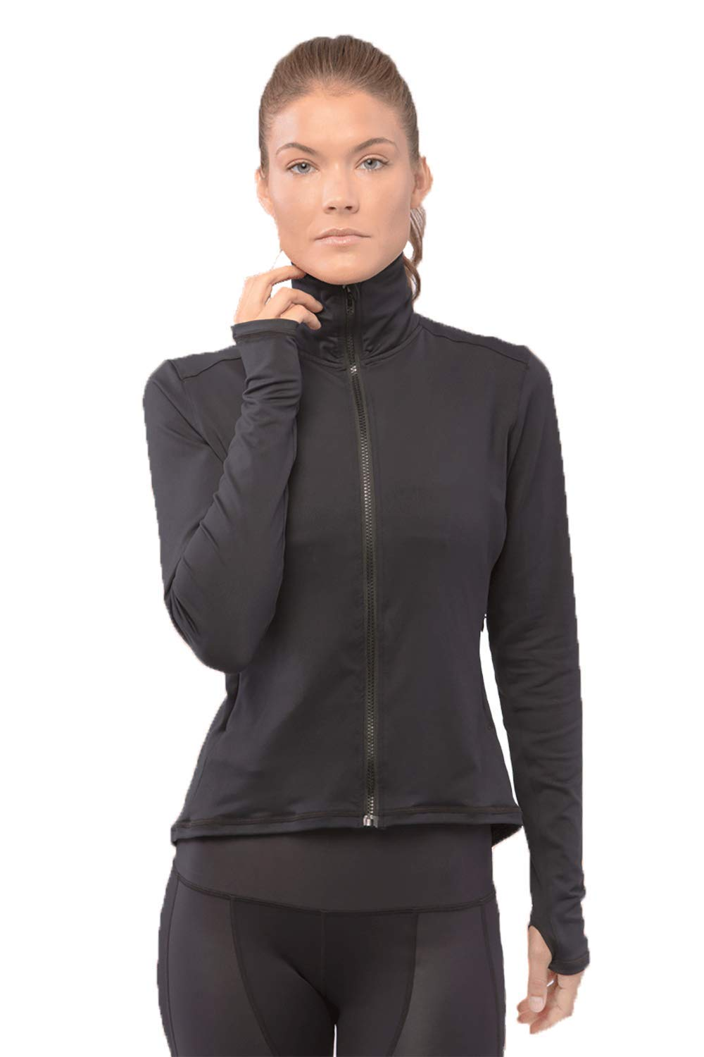 Just Live Alexa Running Jacket Women - Yoga and Workout Full Zip Lightweight Jacket with Zipper Pockets and Thumb Holes (Small, Black)