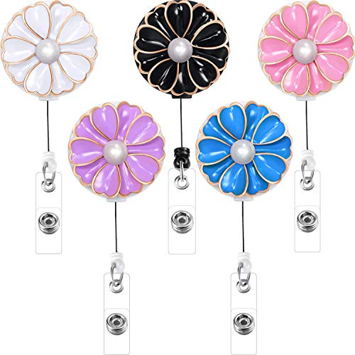 Boao 5 Pieces Retractable Badge Holder with Alligator Clip, ID Badge Reel Clip with Pearl (Multiple)