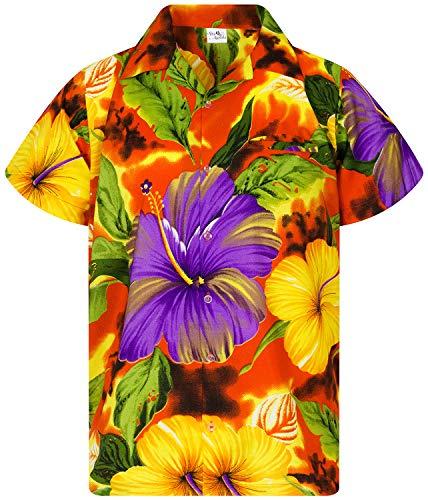 - King Kameha Funky Hawaiian Shirt, Shortsleeve, Big Flower, Orange, 5XL