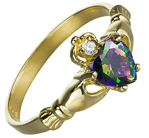 (14K-GOLD All Natural Genuine - 9MM 2ctw June Fire Rainbow Topaz Mystic HEART Royal Claddagh Celtic Irish Ring-SIZE 5-13)