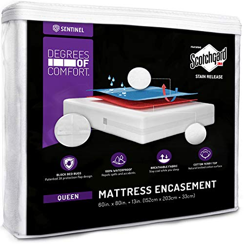 - Degrees of Comfort Waterproof Zippered Mattress Encasement - Breathable Bed Bug Mattress Cover with Advance Patented Zipper Flap Design - 3M Scotchgard Stain Release Technology Fits 9-12
