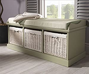 Tetbury Sage Green Storage Bench With 3 White Baskets Hallway Bench With Storage Baskets And