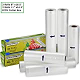 "KitchenBoss Vacuum Sealer Rolls with Cutter Box 6 Pack 3 Rolls 8"" x16.5' and 3 Rolls 11"" x16.5' Food Storage Bags Rolls Commercial Grade Bag for Food Saver and Sous Vide"