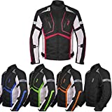 Motorcycle Jacket For Men Textile Motorbike Dualsport Enduro Motocross Racing Biker Riding CE Armored Waterproof All-Weather (Red, Medium)