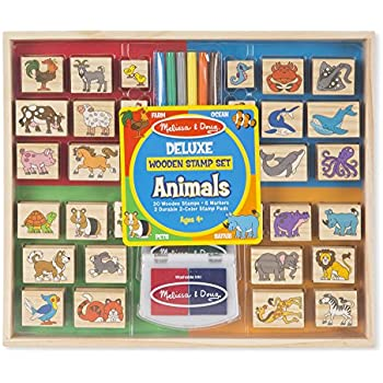 Melissa & Doug Deluxe Wooden Stamp Set: Animals - 30 Stamps, 6 Markers, 2 Stamp Pads