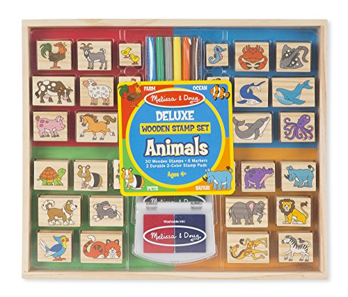 Melissa & Doug Deluxe Wooden Stamp Set: Animals - 30 Stamps, 6 Markers, 2 Stamp Pads Doug Stamp Set