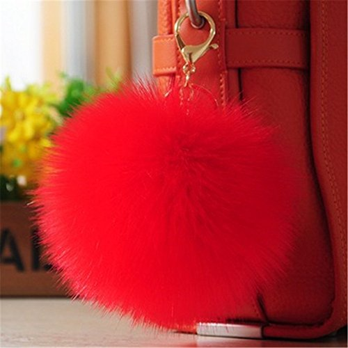 Bag Charm Pendant - Dikoaina 2 Pieces Faux Fur Pom Pom Keychain Bag Purse Charm Pendant Gold Ring Fluffy Fox Fur Ball (Red)