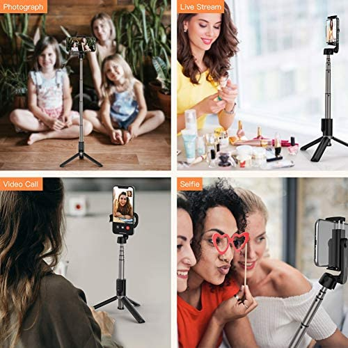 Yoozon Selfie Stick Tripod Bluetooth,Extendable Phone Tripod Selfie Stick with Wireless Remote Shutter Compatible with iPhone 12/SE 2/11/11 Pro/11 Pro Max/Xs,Galaxy S20/Note 10/S10/S9,Google and More