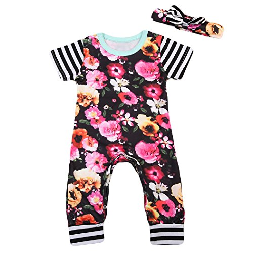 2 Piece Floral Jumpers Baby Girl Short Sleeve Romper Outfit Set (18-24Months, - Christmas Jumper Sleeve Short