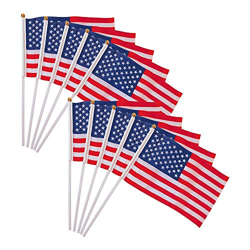 NEW 10Pcs 4x6 American USA National Hand Held Flags Small Banner & - Sunglasses In World 10 Brands Top