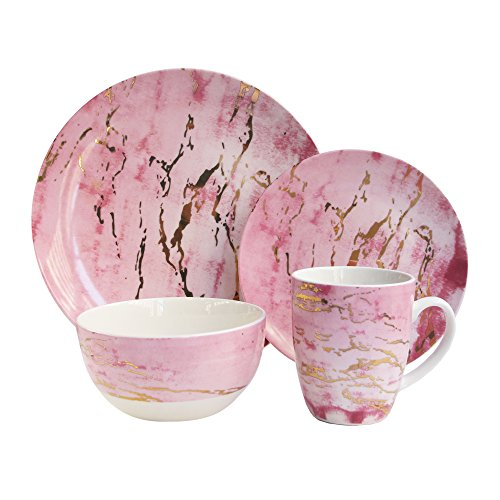 Cheap American Atelier 7090-16-RB 16 Piece Marble Dinnerware Set, 10.5″ x 10.5″, Pink/Gold