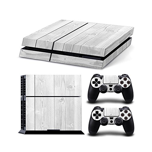 Gam3Gear Vinyl Sticker Pattern Decals Skin for PS4 Console & Controller  (NOT PS4 Slim / PS4 Pro) - White Wood (Ps4 Wood Grain Skins)