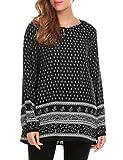 SE MIU Women Bohemian Ethnic Style Loose Fit Long Sleeve Printed Tunic Top, Pattern 1, X-Large, Pattern 1, X-Large