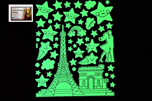 PertidStar Glow In The Dark Stars Wall Stickers Eiffel Tower for Starry Sky, Perfect For Kids Bedding Room or Birthday Gift ,Beautiful Wall Ceiling Decals Perfect For Baby Nursery Bedroom Decor,Set 18