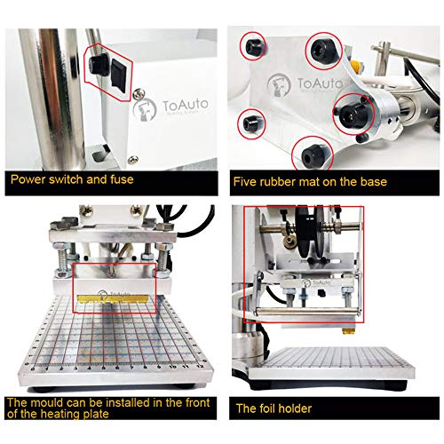 Upgraded Hot Foil Stamping Machine 5x7cm 110V with Full Scale on The Base Plate for PVC Leather PU Paper Logo Embossing 1.97''x2.76'' by FASTTOBUY (Image #6)