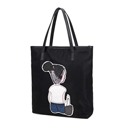 224148672291 Image Unavailable. Image not available for. Color  Cute Tote For Girls  Women Travel Bags Nylon Bookbag Shoulder Print Purse Beach Tote Bags Black