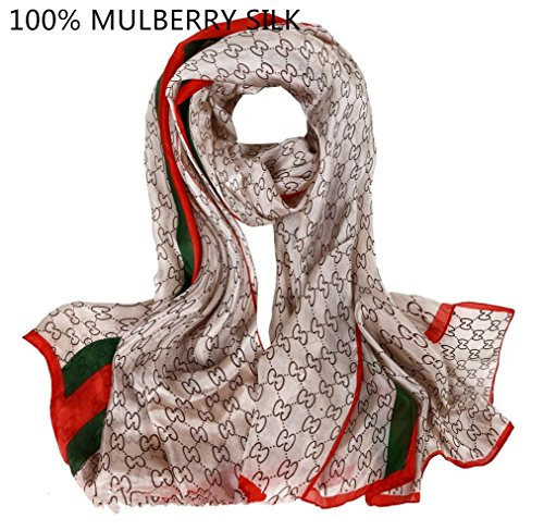 Novels-wear 100%mulberry Silk Scarf Wrap Luxury Brand Geometric Logo Print light coffee with green and red stripe 70