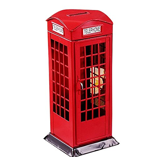 [AENMIL Metal Crafts Piggy Bank, Alloy Square Phone Booths Money Saving Cans, Creative Home Decorative Furnishings Coin Storage] (Creative Cow Costumes)
