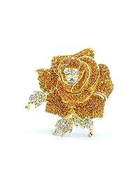 Rose Flower Brooch Pin with Rhinestone for Women Birdal Girl Prom Jewelry (Yellow)