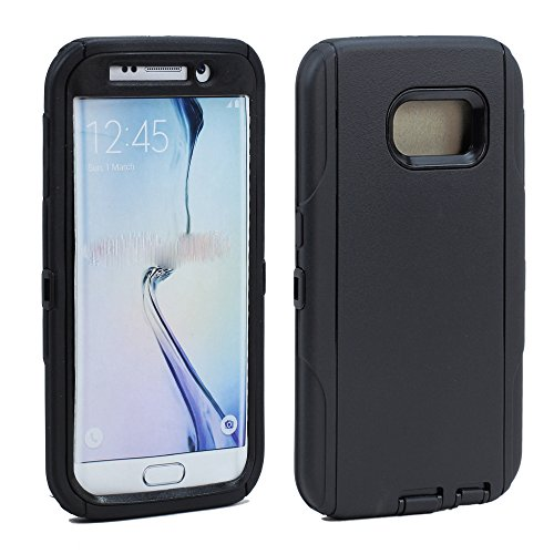 GummyCase Samsung Galaxy S6 Edge Plus Plastic Rubber Rugged Heavy Duty Matte Dual Layer Armor Defender Hybrid Protective Case Cover for Galaxy S6 Edge Plus, Black Black Prem Matte