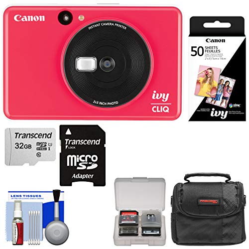 Canon Ivy Cliq Instant Digital Camera Printer (Lady Bug Red) with 32GB Card + 50 Color Prints + Case + Kit