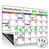 Magnetic Monthly Calendar Dry Erase Board, Large Multi-Function White Board, Monthly&Weekly Organizer Planner for Kitchen Refrigerator/Meeting Room/Classroom …