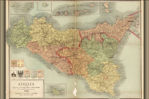 24x36 Poster - 1900 Map Of Sicily Italy (reproduction)