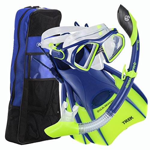 U.S. Divers Admiral Snorkeling Set - Premium Silicone Snorkel Mask, Trek Travel Fins, Dry Top Snorkel + Snorkeling Gear Bag, Neon Blue, Medium
