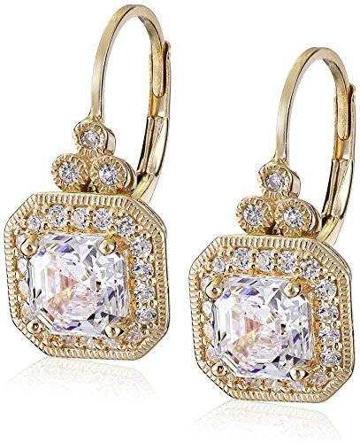 Yellow Gold Plated Sterling Silver Antique Drop Earrings set with Asscher Cut Swarovski Zirconia