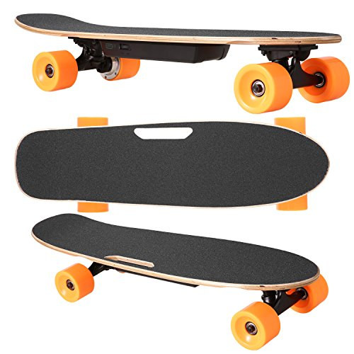 Anfan Electric Skateboard 7 Layer Maple Wood Deck PU Wheels Motorized Electric Longboard with Wireless Handheld Remote Control for Adults & Kids (US Stock) (Type 1)