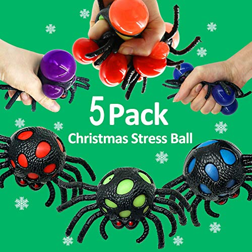 5 Pack Spider Stress Grape Balls Rubber Squeeze Tactile Ball Sensory Fidget Toys for Kids Adults Hand Wrist Exercise Therapy Autism ADHD Bad Habits Mood Relief Halloween Decoration School Office -
