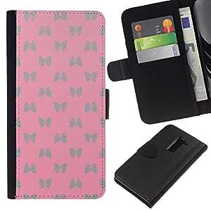 Stuss Case / Funda Carcasa PU de Cuero - Plata rosada de la mariposa - LG G2 D800