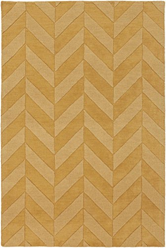 Super Area Rugs Gold Rug Contemporary Design 9-Foot x 12-Foot Staggered Wool Chevron
