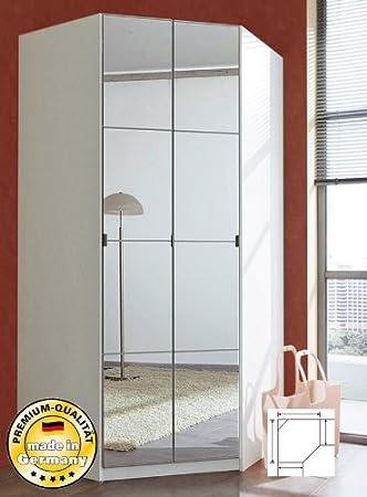 Eckkleiderschrank mit spiegel  Eckkleiderschrank Eckschrank 93758 weiß mit Spiegel: Amazon.de ...