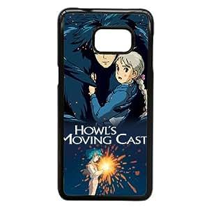 Howl está moviendo Caso alta resolución Castillo cartel Samsung Galaxy S6 Edge + Plus teléfono celular funda Negro caja del teléfono celular Funda Cubierta EEECBCAAJ79677