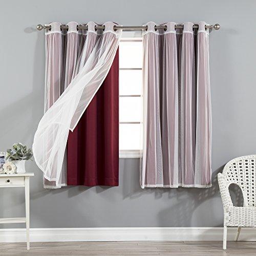 Best Home Fashion Mix & Match Tulle Sheer Lace & Blackout Curtain Set - Antique Bronze Grommet Top - Burgundy - 52