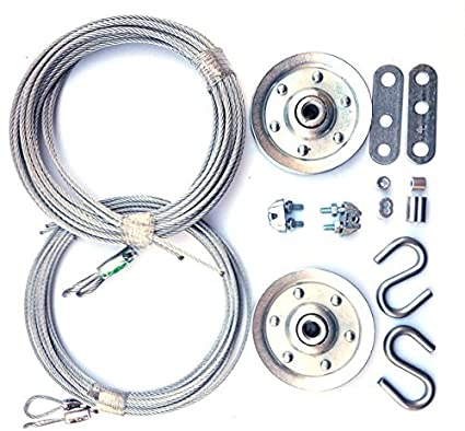 Cable and Pulley Replacement Kit - Two 3 inch Heavy Duty Sheaves  Two Pairs  of Galvanized Aircraft Cables - 3/32 and 1/8 inch Diameter  10 Fasteners