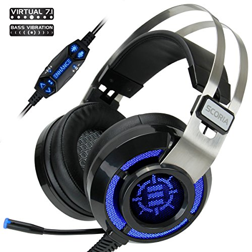 Enhance Scoria Gaming Headset For Computer   Ps4 With Usb 7 1 Surround Sound  Interactive Bass Vibration  Adjustable Led Lighting  In Line Controls   Retractable Microphone   Teamspeak Certified