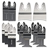 Pukido 15pcs Mix Saw Blades Oscillating Multitool for Fein Bosch Dewalt Porter