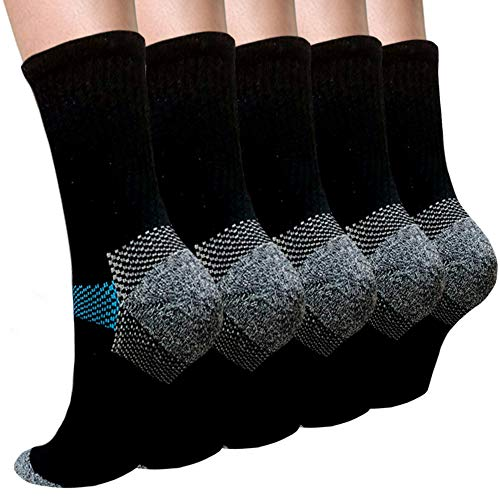 Thick Protective Sport Cushion Basketball Compression Athletic Crew Socks -5 Pack (S/M, Black)