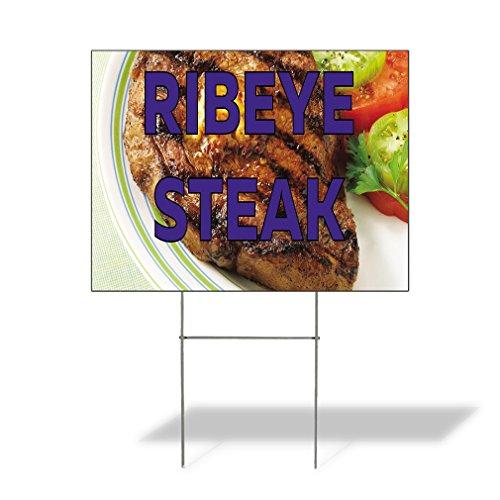 Ribeye Steak Outdoor Lawn Decoration Corrugated Plastic Yard Sign - 18inx24in, Free (1 Ribeye Steak)