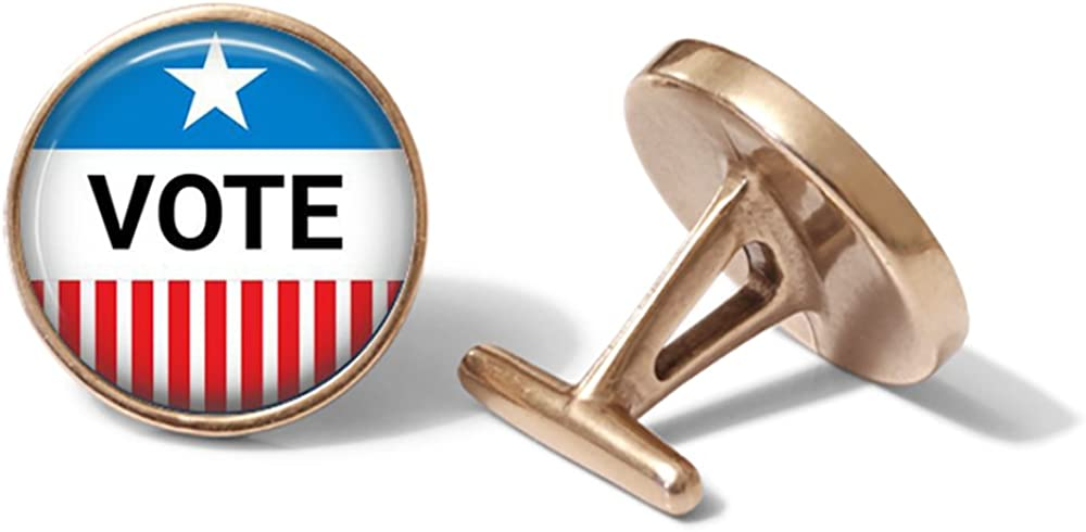 Solid Bronze Voting Cufflinks Election Cuff Links