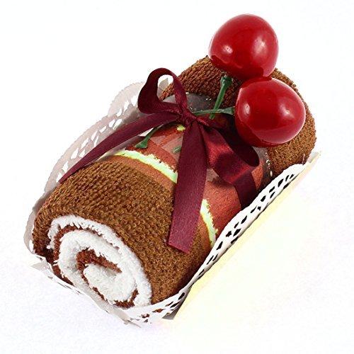 EbuyChX Roll Cake Design Cherry Decor Wedding Party Regalo Hand Towel Brown (Pista Roll)