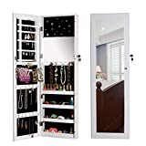 Organizedlife Locking Jewelry Armoire Chest with Mirror Wall Mount Over the Door